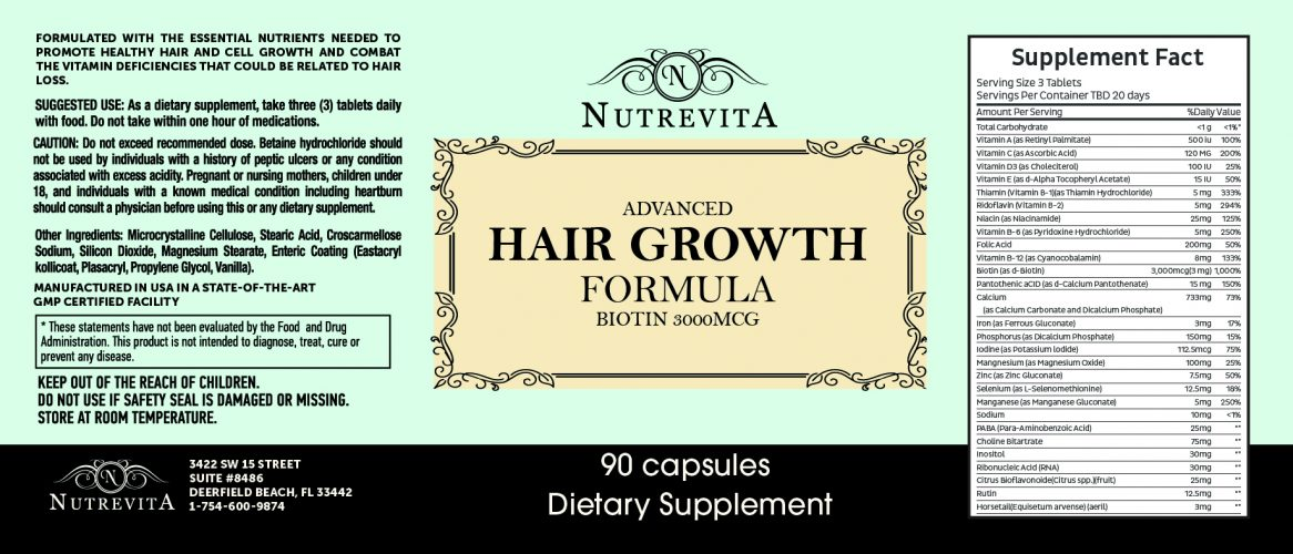 NUTREVITA ADVANCED BIOTIN HAIR GROWTH SUPPLEMENT - fast hair growth products