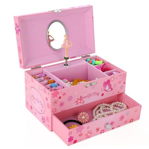 SONGMICS Ballerina Music Jewelry Box