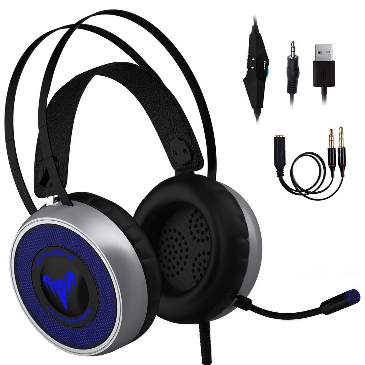 [Newest 2020] Gaming Headset for Xbox One, S, PS4, PC with LED Soft Breathing Earmuffs, Adjustable Microphone, Comfortable Mute & Volume Control, 3.5mm Adapter for Laptop, PS3 (Regular)