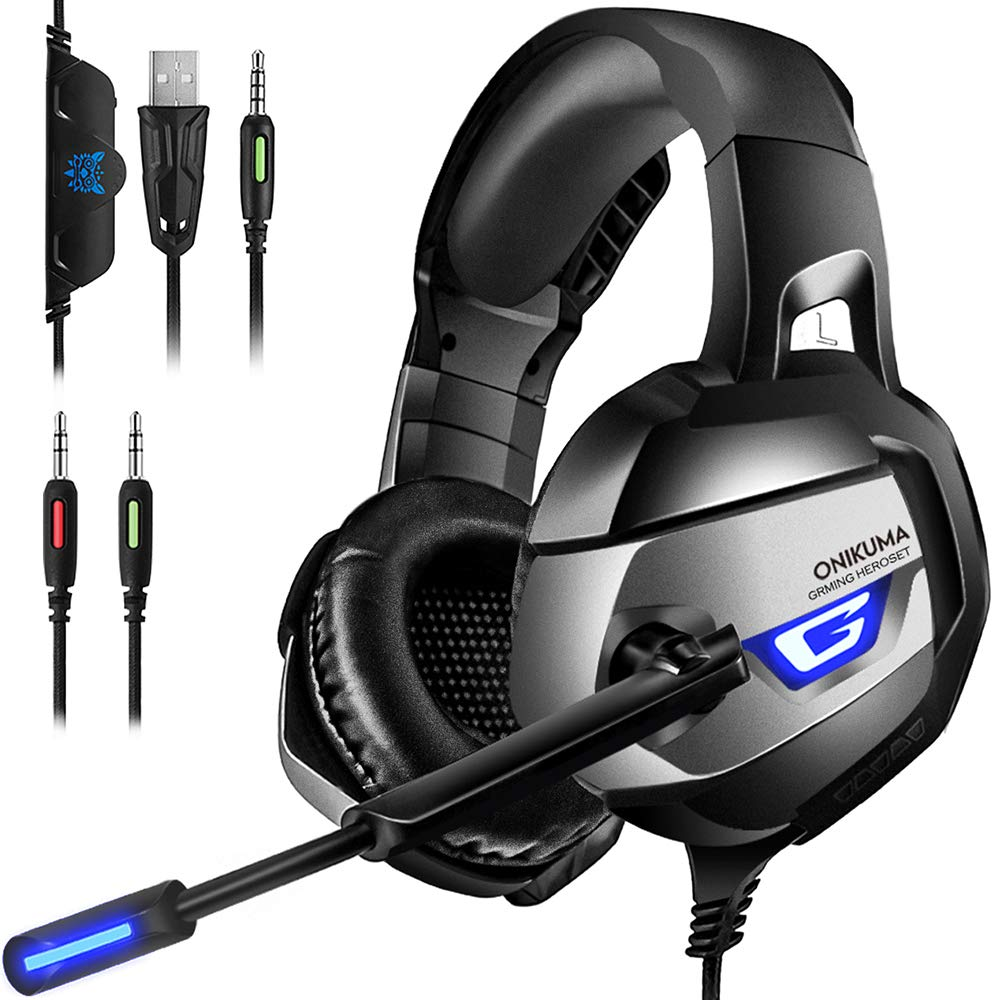 ONIKUMA Gaming Headset - Headset Gaming Headphones for PS4, Xbox One (Adapter Need), PC Gaming Headset with Crystal Clear Sound, LED Lights & Noise-canceling Microphone (K5-N)