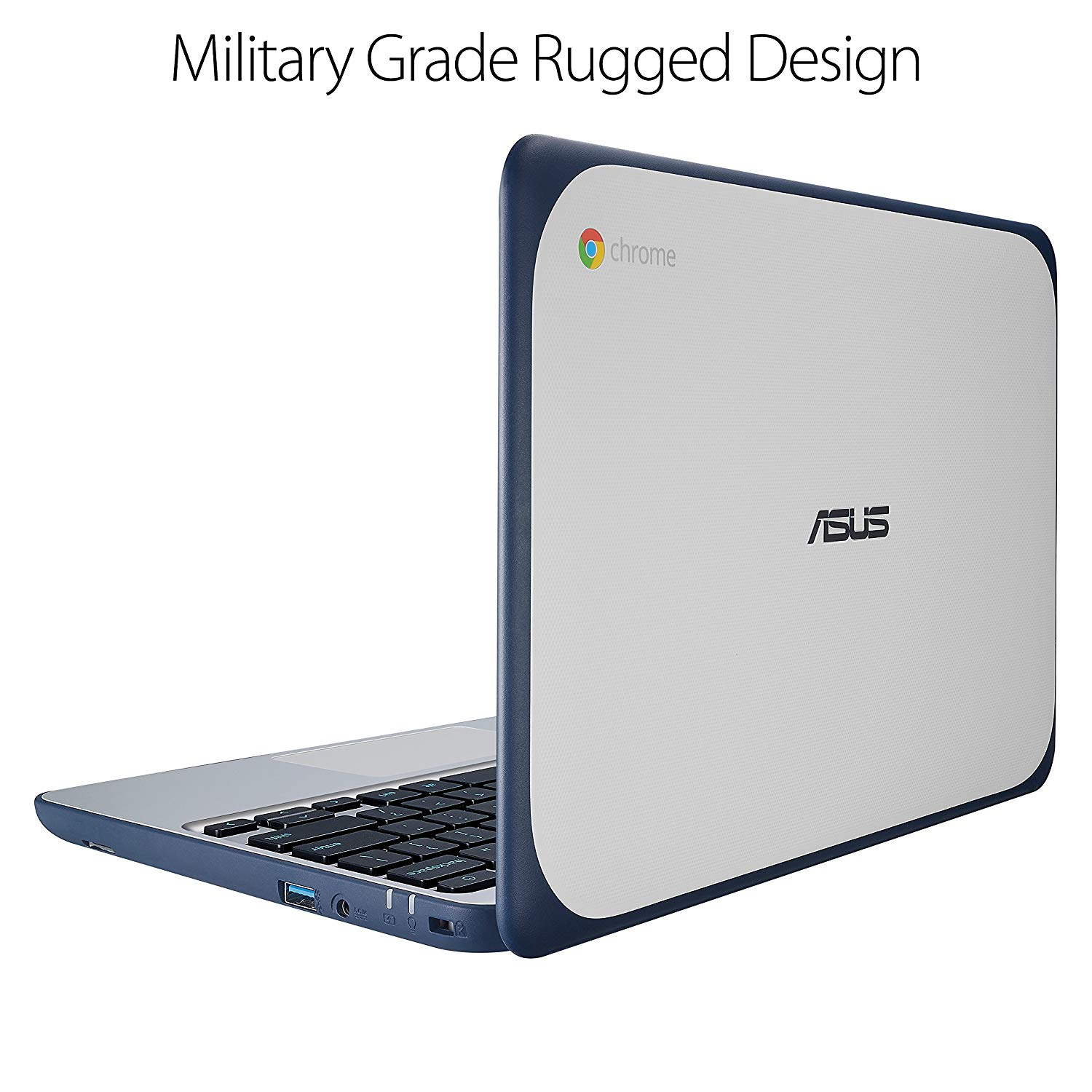 "ASUS Chromebook C202SA-YS01 11.6"" Ruggedized and Spill Resistant Keyboard Design with 180 Degree Hinge (Intel Celeron 2GB, 16GB eMMC, Dark Blue)"