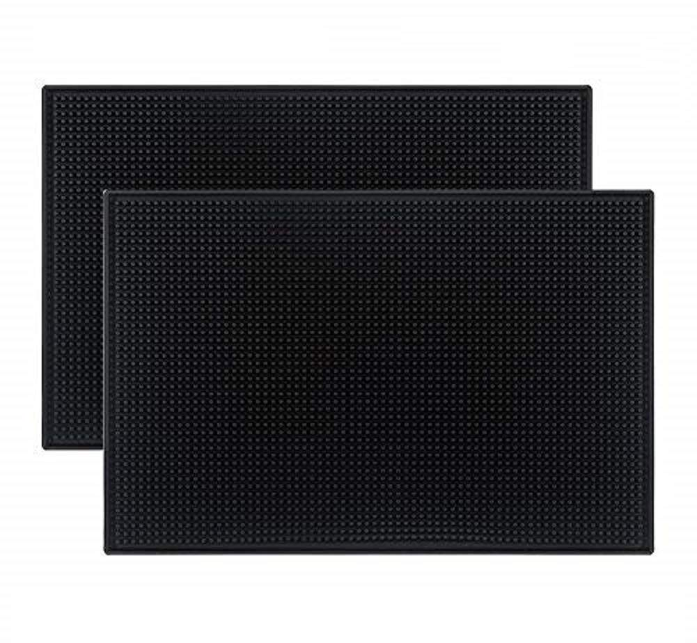 "Teaberry Black Mat 18"" x 12"" Rubber Bar Service Spill Mat (2 pack)"