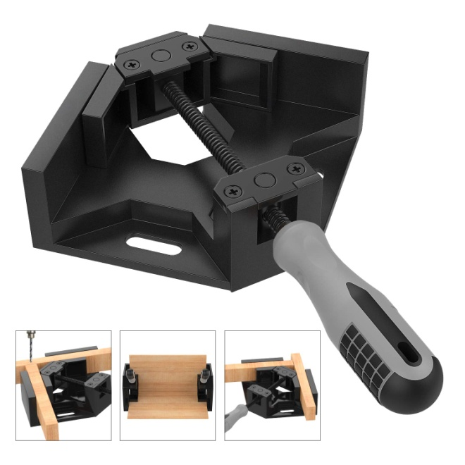 Right Angle Clamp, Housolution Single Handle 90° Aluminum Alloy Corner Clamp, Right Angle Clip Clamp Tool Woodworking Photo Frame Vise Holder with Adjustable Swing Jaw - Black