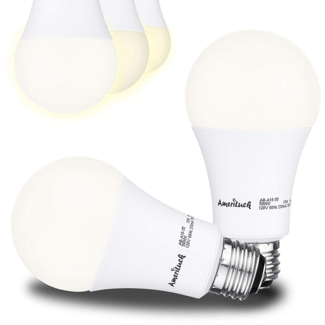 AmeriLuck 50-75-100W Equivalent 3-Way LED Light Bulb A19 3000K Warm White Omni-Directional (2 Pack)