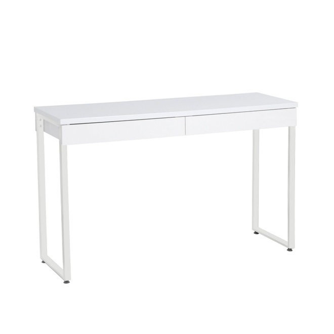 "GreenForest 47"" Console Table White Small Desk with 2 Drawers and Solid Metal Legs for Entryway Hallways"