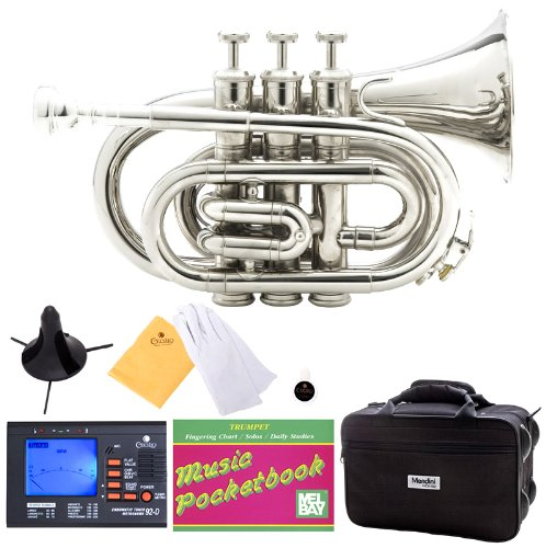 Mendini MPT-N Nickel Plated Bb Pocket Trumpet + Tuner, Case, Stand, Mouthpiece, Pocketbook & More
