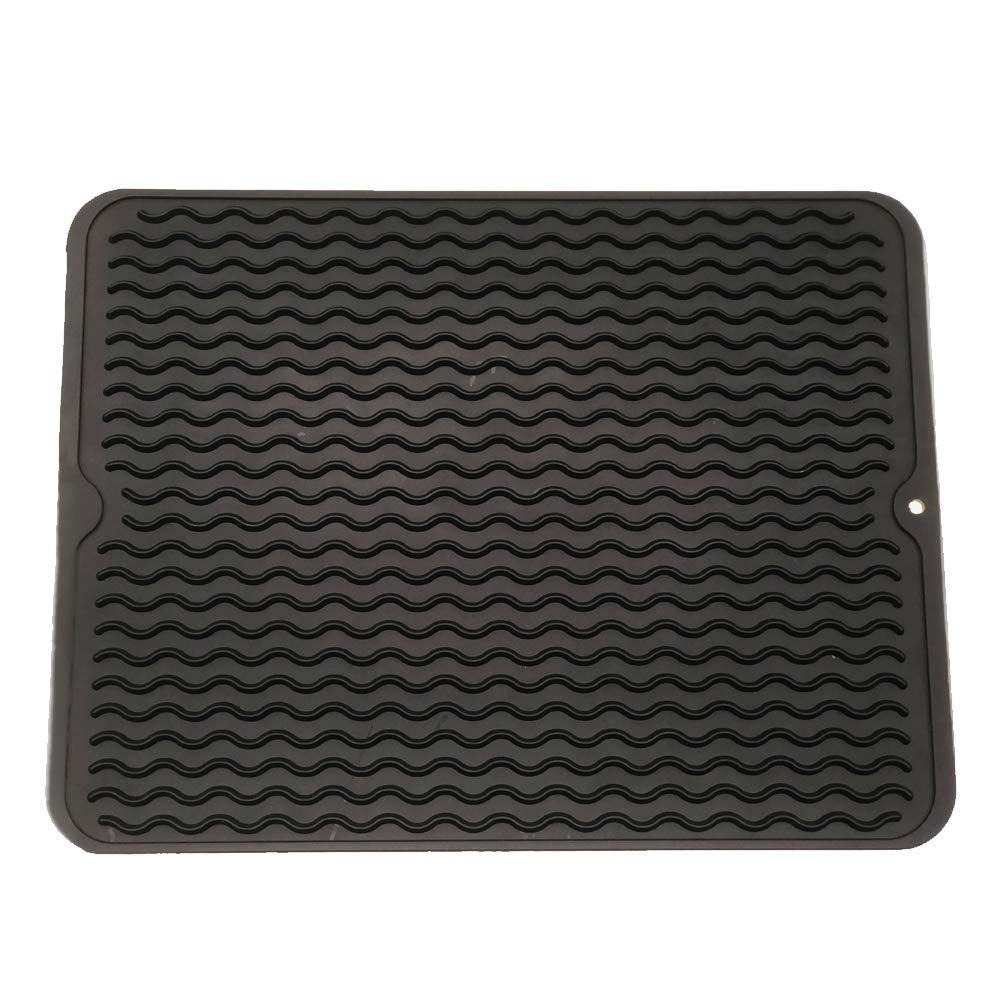 "ZLR Silicone Dish Drying Mat Easy Clean Dishwasher Safe Heat Resistant Eco-Friendly Trivet Black Large 15.8"" X 12"""