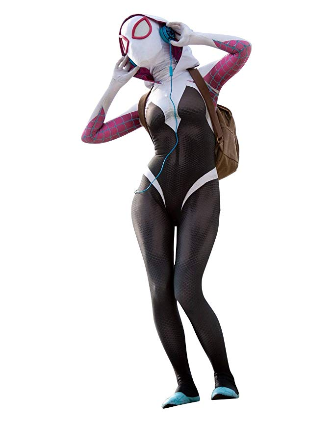 CosplayLife Gwen Stacy Cosplay Costume | Into the SV Ghost Gwen | Lycra Spandex Fabric Bodysuit for Women and Kids