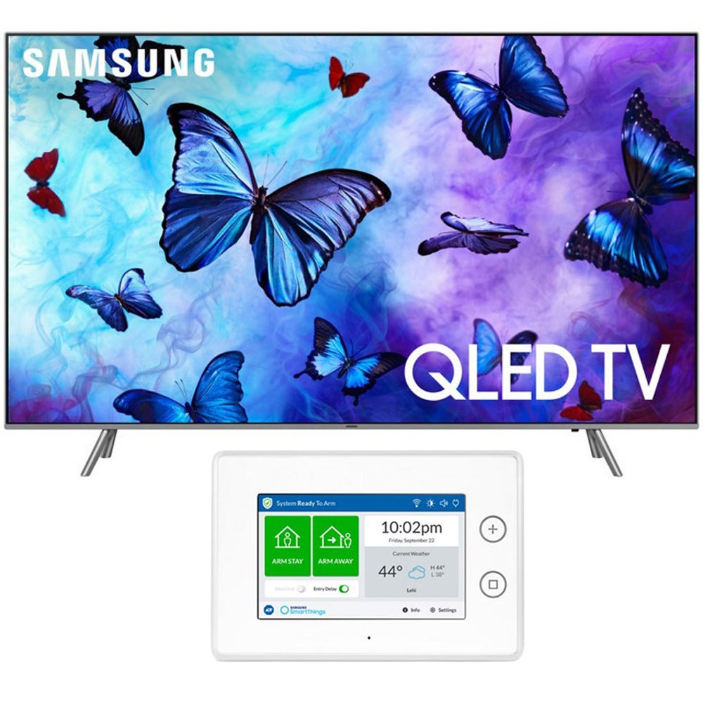 Samsung QN49Q6FN QN49Q6 QN49Q6F 49Q6 49 QLED Smart 4K UHD TV (2018 Model) with SmartThings ADT Home Security Starter Kit - (F-ADT-STR-KT-1)