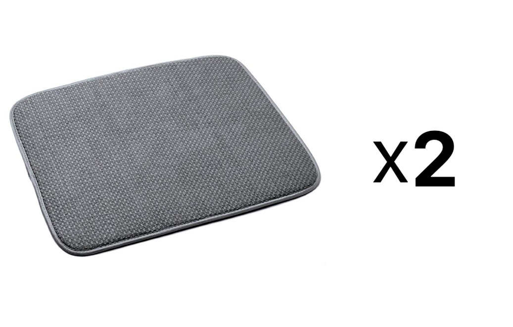 Norpro 16 by 18-Inch Microfiber Dish Drying Mat, Gray (16 by 18-inch (pack Of 2), Gray)