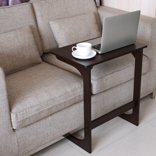 HOMFA Bamboo Sofa Couch End Table - C Shape Table