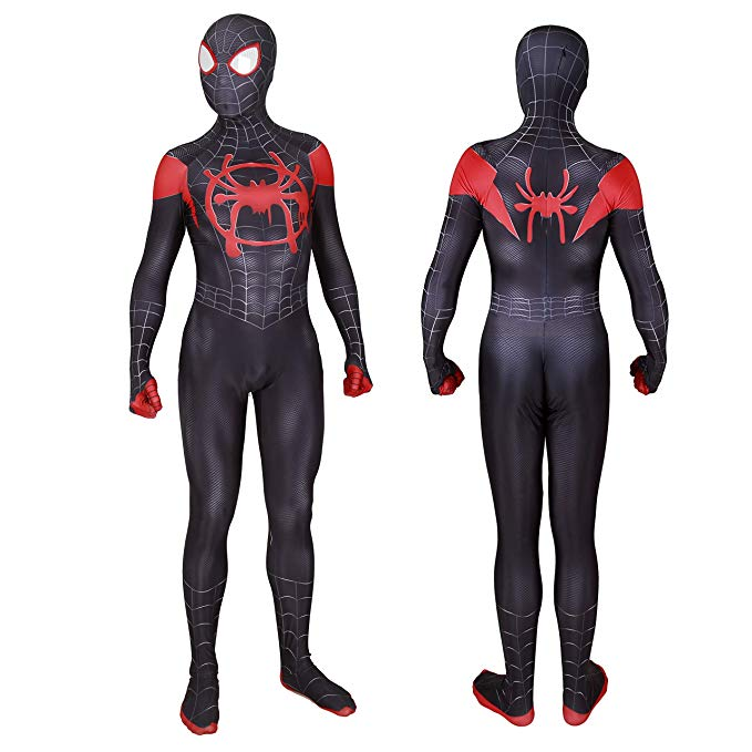 MYanimec Unisex Lycra Spandex Halloween New into The Spider-Verse Miles MoralesCosplay Costumes Adult/Kids 3D Style