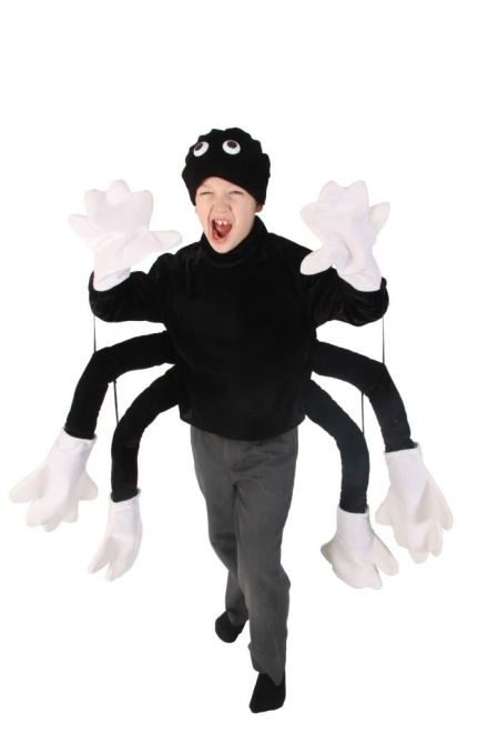 Spider Costume Child Top and Hat, Made from Black and White Velvet material