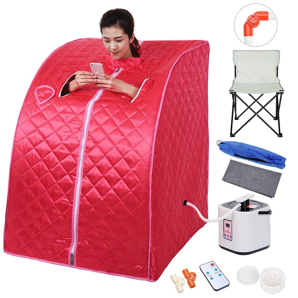 AW Portable Large Chair Red Personal Therapeutic Steam Sauna SPA Slim Detox Weight Loss Home Indoor