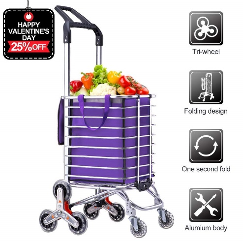 AmnoAmno Folding Shopping Cart-Stair
