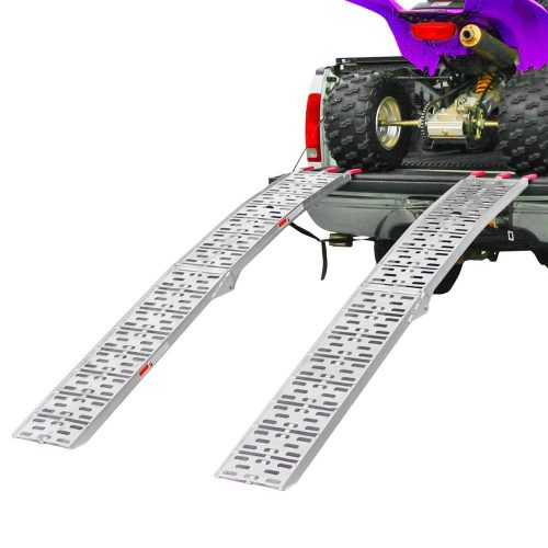 "Clevr 7.5' X-Large ATV UTV Folding Arched Aluminum Ramps for Motorcycles, Lawnmowers Truck, 90"" Long, 1500 lbs.Capacity"