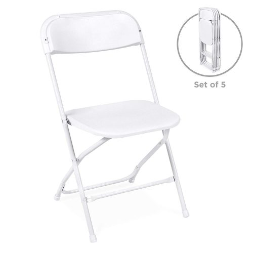 Best Choice Products (5) Commercial White Plastic Folding Chairs