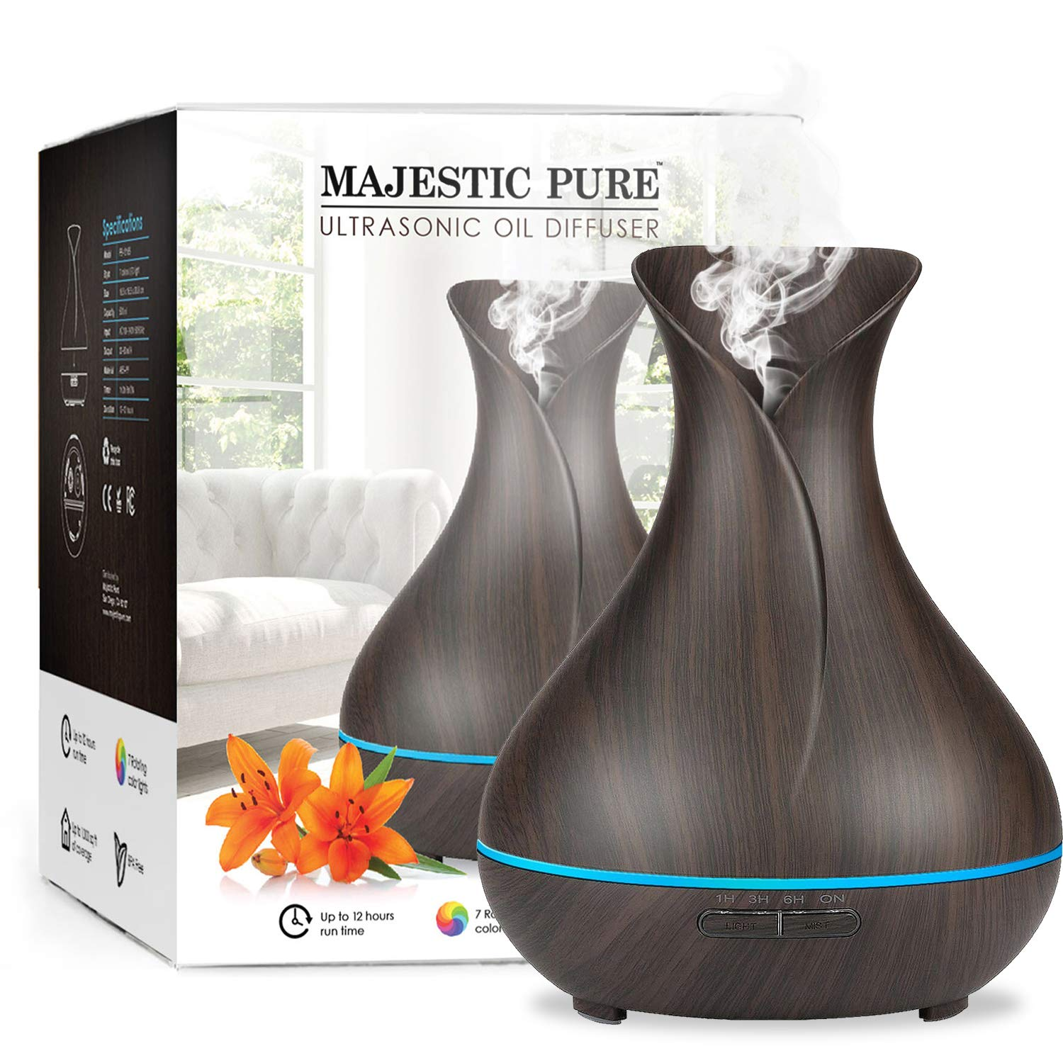 MAJESTIC PURE Essential Oil Diffuser - Advanced Cool Mist Humidifier, Ultrasonic Aromatherapy Diffuser with Strongest Mist Output - Best Coverage, Longer Run Times, BPA Safe - 400ml