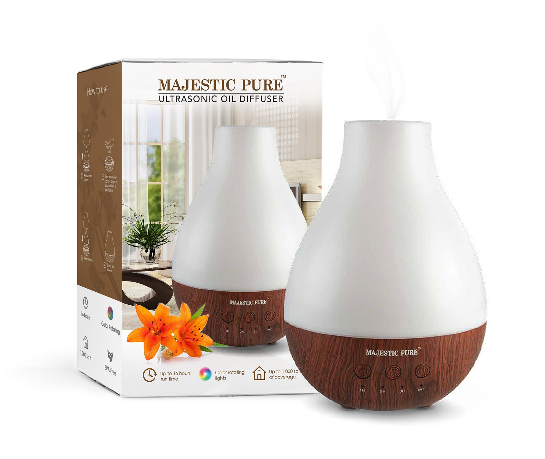 MAJESTIC PURE Essential Oil Diffuser - Advanced Aroma Diffuser with Strong Mist Output - Best Ultrasonic, Wider Area, Cool Mist Humidifier, Longer Run Times, BPA Safe and Automatic Safety Features