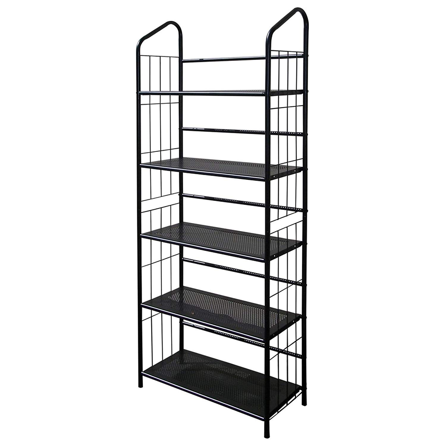 Metal Utility Bookcase Bookshelf Rack Black Finish 13 by 26 by 37