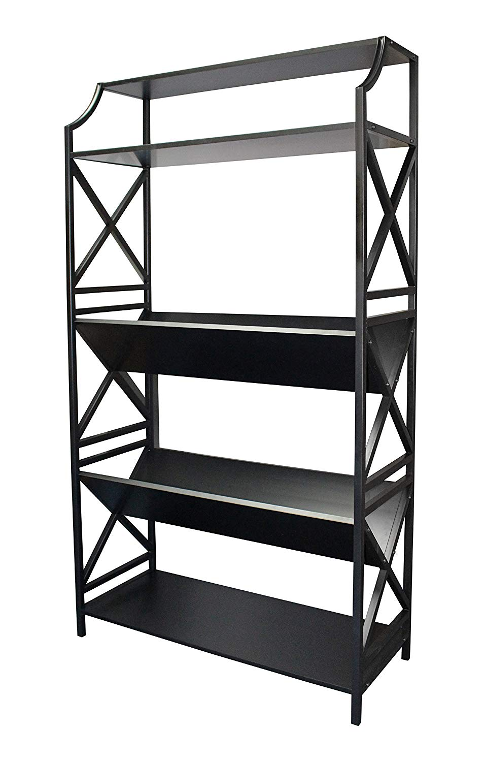 eHemco 5 shelf Metal Bookcase with 2 shelves on a slant (V-shaped) and x sides