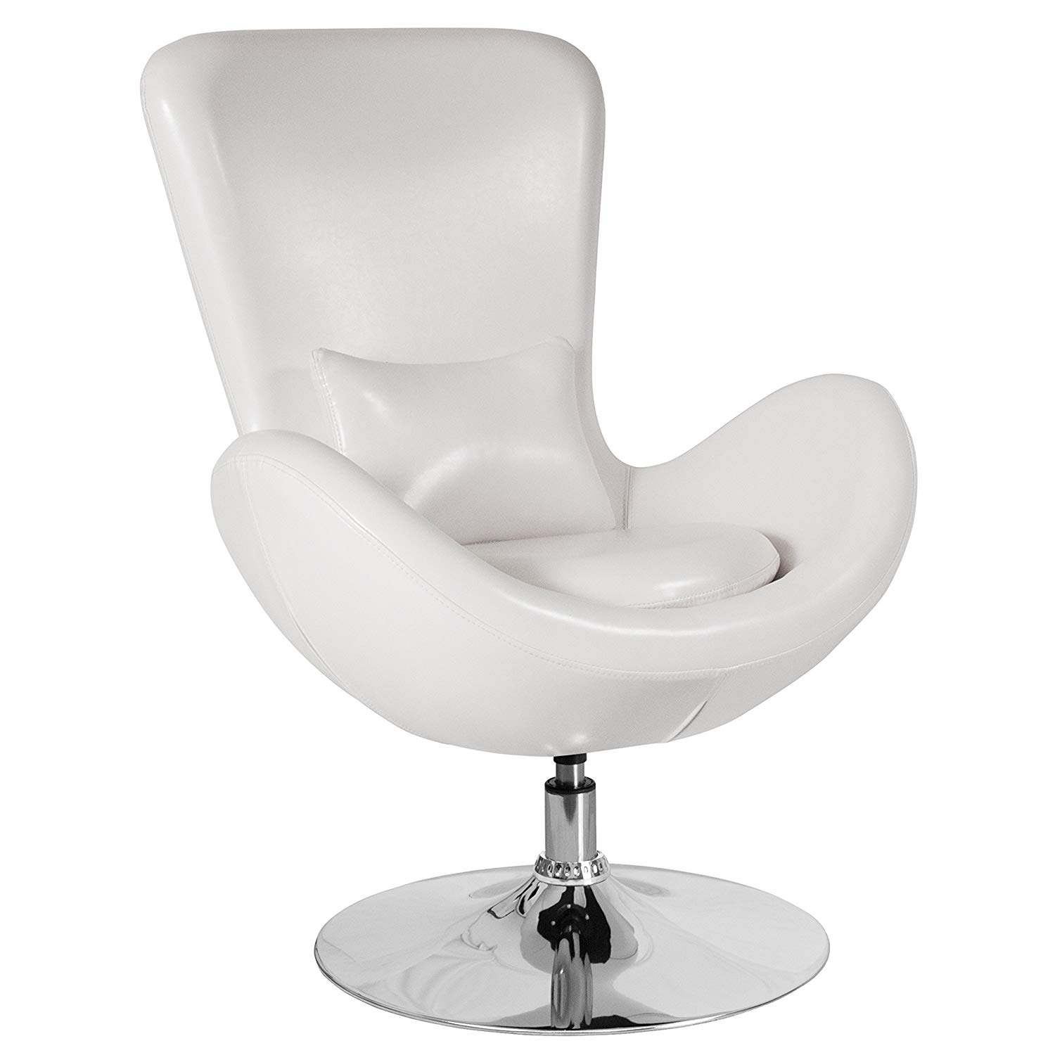 Flash Furniture Egg Series White Leather Side Reception Chair