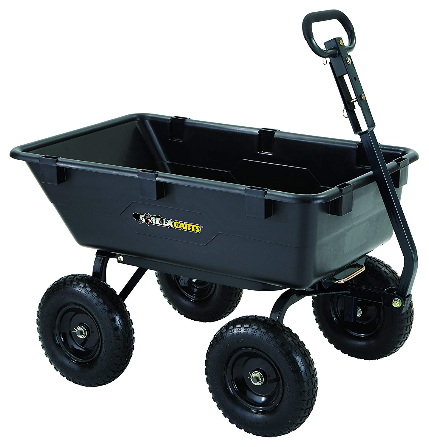 Gorilla Carts GOR6PS Heavy-Duty Poly Yard Dump Cart with 2-in-1 Convertible Handle, 1,200-Pound Capacity, Black - Heavy Duty Lawn Garden Utility Cart Wagon