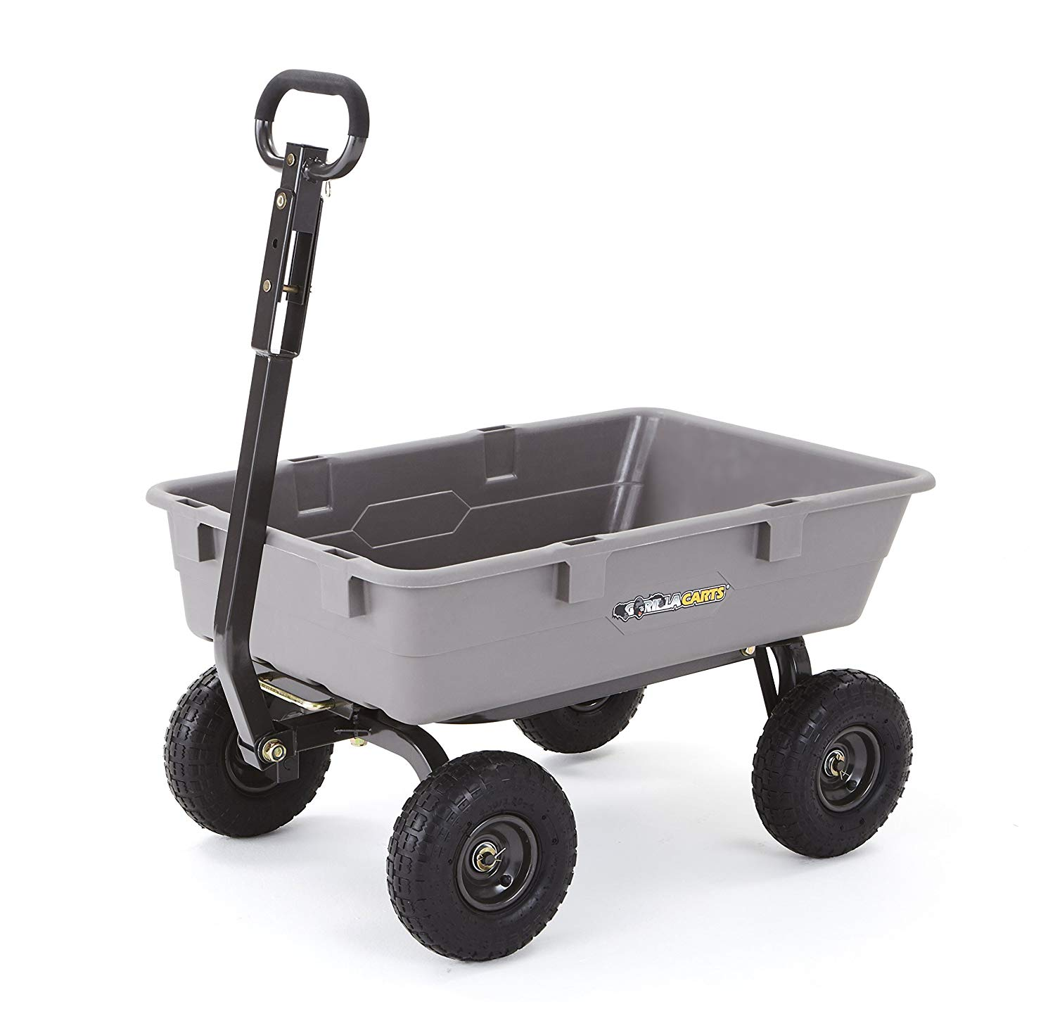 "Gorilla Carts Poly Garden Dump Cart with Steel Frame and 10"" Pneumatic Tires,800-lbs. Capacity, Gray"