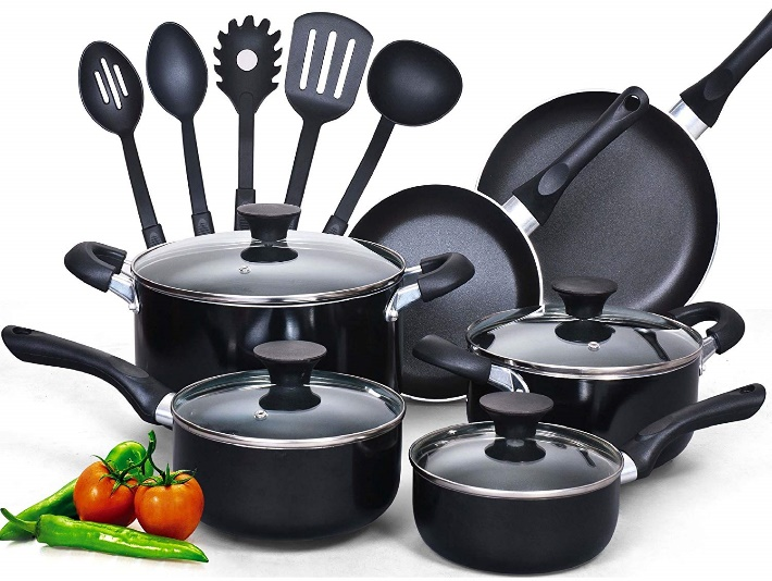 Cook N Home 15-Piece Nonstick Stay Cool Handle
