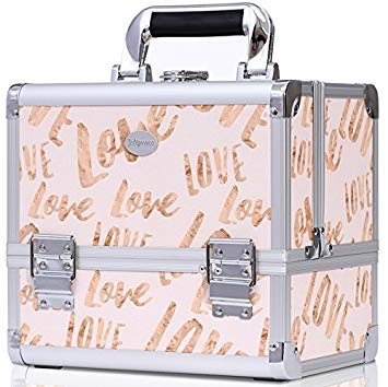 Joligrace Makeup Train Case Cosmetic Organizer Box Lockable