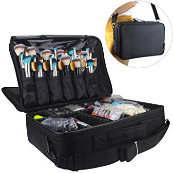 Relavel Professional Makeup Train Case Cosmetic Bag and Brush Organizer