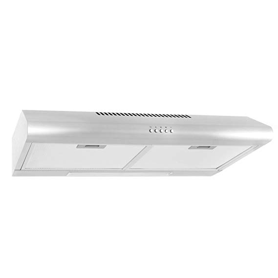Cosmo 5MU30 30-in Under-Cabinet Range Hood 200-CFM | Ducted/ Ductless Convertible Top/ Rear Duct, Slim Kitchen Stove Vent with LED Light, 3 Speed Exhaust Fan, Reusable Filter ( Stainless Steel )