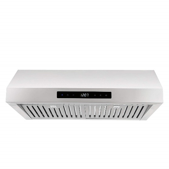 Cosmo UMC30 30-in Under-Cabinet Range Hood 760-CFM | Ducted / Ductless Convertible Duct, Kitchen Over Stove Vent with LED Light, 3 Speed Exhaust, Fan Timer, Permanent Filter (Stainless Steel)
