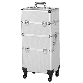 Yaheetech 3-in-1 Professional Artist Aluminum Rolling Trolley Makeup Train Case