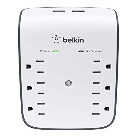 Belkin 6-Outlet USB Surge Protector w/Wall Mount - Ideal for Mobile Devices, Personal Electronics, Small Appliances and More (900 Joules)