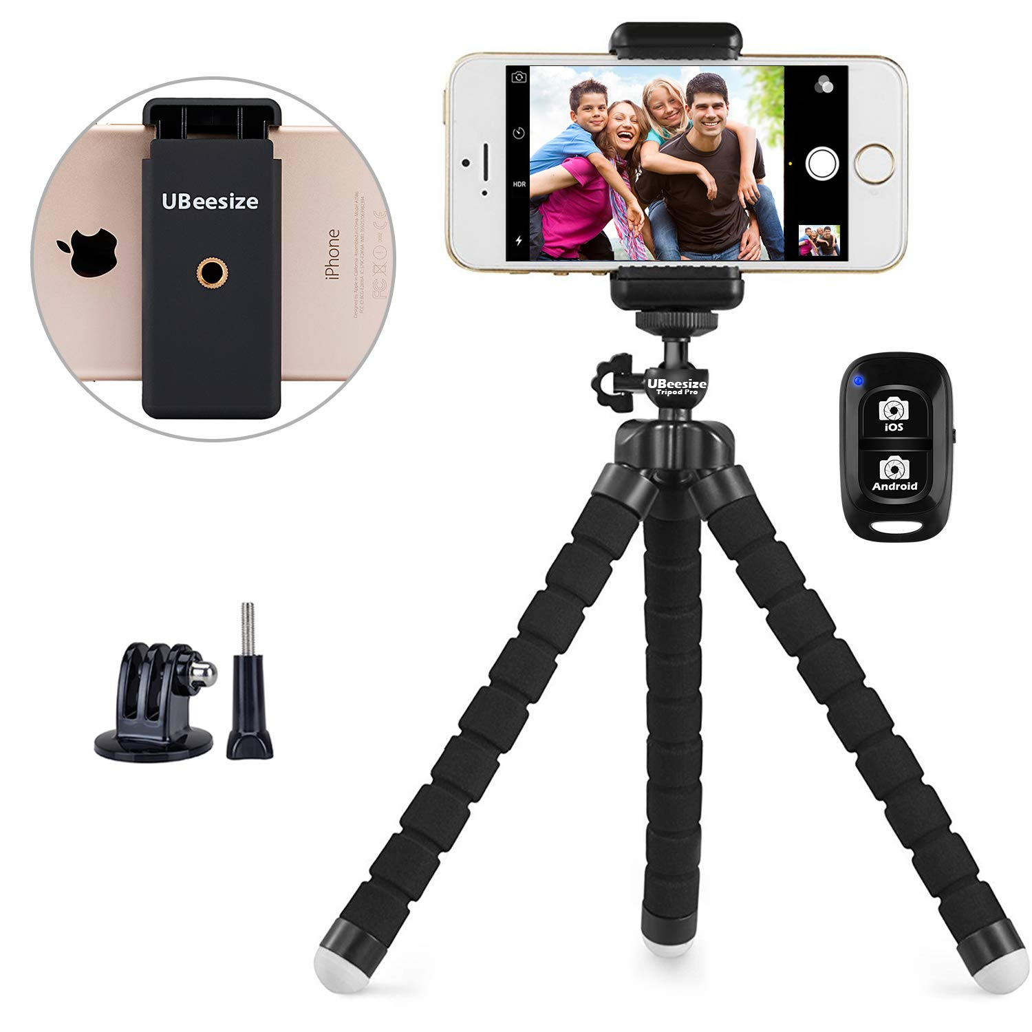 Phone Tripod, UBeesize Portable, and Adjustable Camera Stand Holder with Wireless Remote and Universal Clip, Compatible with iPhone, Android Phone, Camera, Sports Camera GoPro (2018 New Version)