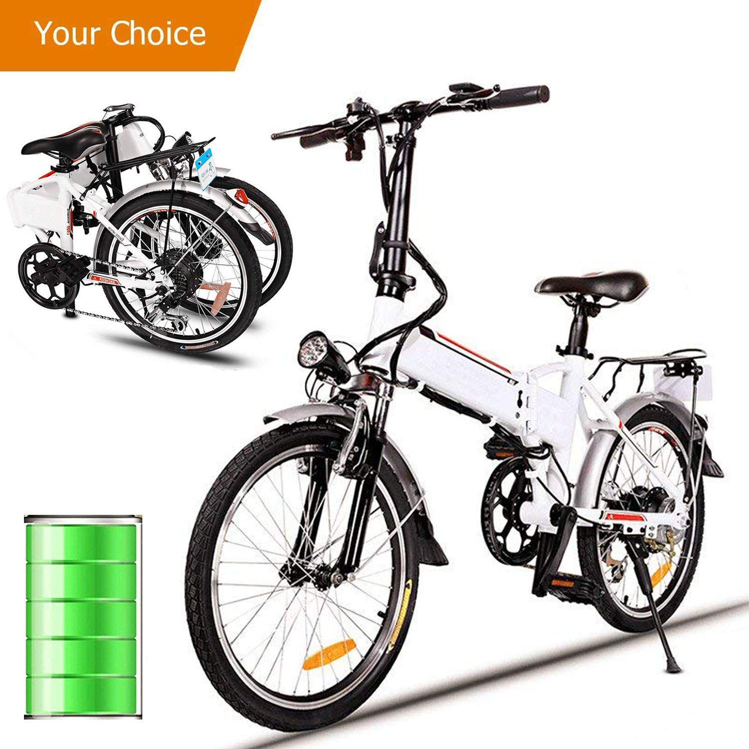 Miageek Folding Aluminum Electric Bike with 36V Removable Lithium-Ion Battery Lightweight E-Bike