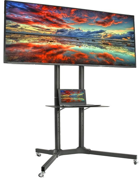 VIVO Black Rolling TV Cart
