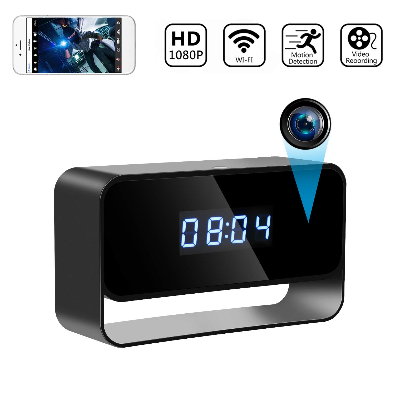 Spy Camera Wireless Hidden Cameras Clock True 1080P Covert WiFi Nanny Cam Secret Home Security Cams Strong Night Vision Video Recorder Remote View via iPhone Android APP