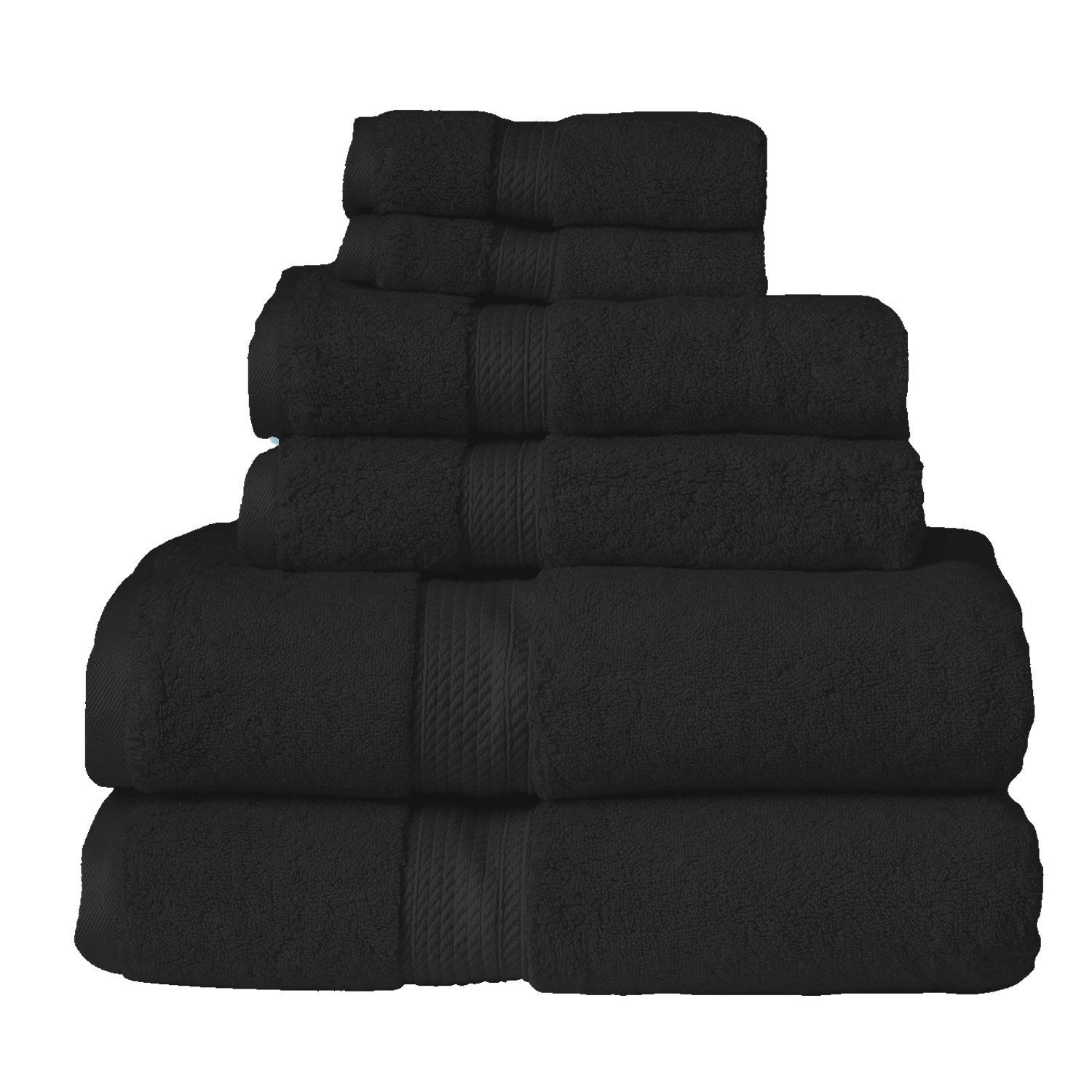 Blue Nile Mills 6-Piece Towel Set, Premium Long-Staple Cotton, 900 GSM, Black