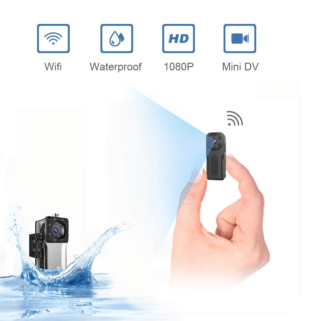 Waterproof Spy Camera Wireless Hidden,ZZCP WiFi Full HD 1080P Portable Mini Nanny Cam with Night Vision and Motion Detection, Perfect Covert Small Security Camera for Indoor and Outdoor