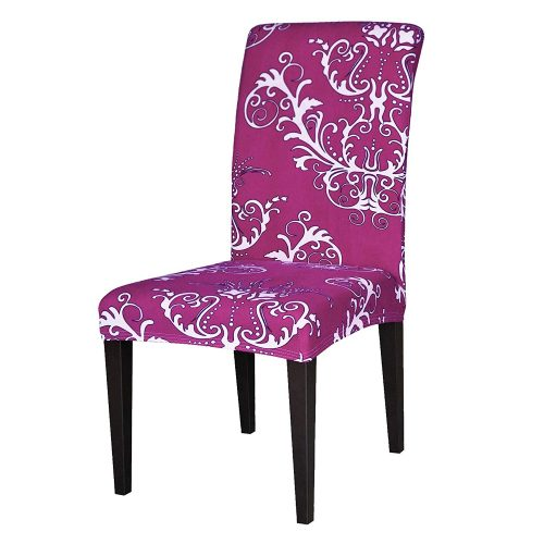 TIKAMI 4PCS Spandex Printed Fit Stretch Dining Room Chair Slipcovers