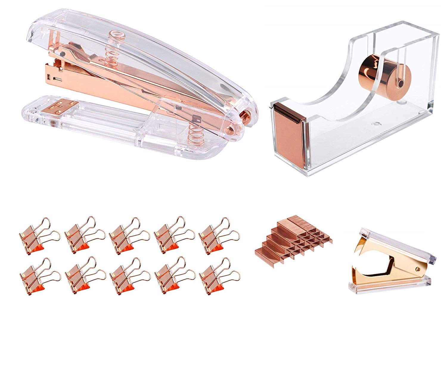 Modernlife Rose Gold Acrylic Stapler Bundle, Stapler and Staple Remover, Tape Dispenser, with 1000 Pcs Rose Gold Staples, 10 Pcs Binder Clips