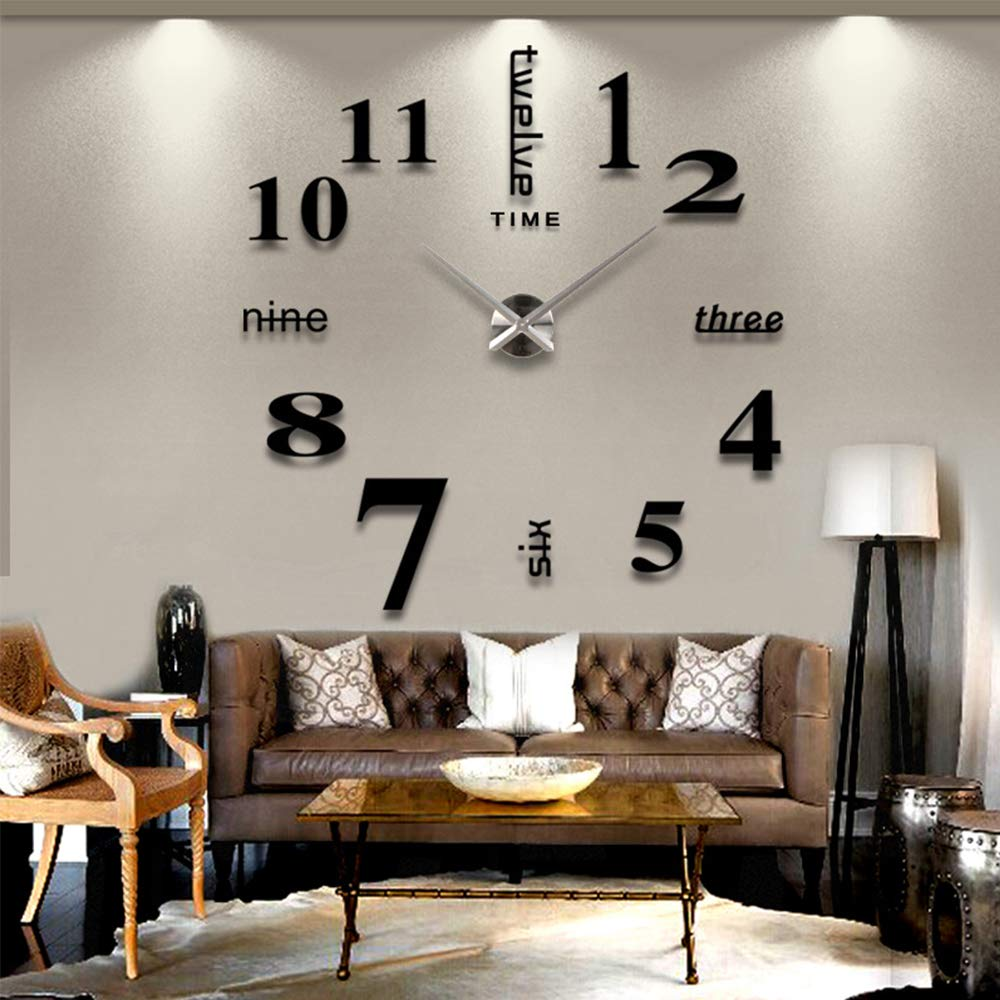 eiAmz DIY Wall Clock, 3D Mirror Stickers Large Wall Clock Frameless Modern Design Large Watch Silent Home/Office/School Number Clock Decorations Gift (black3) - Living room