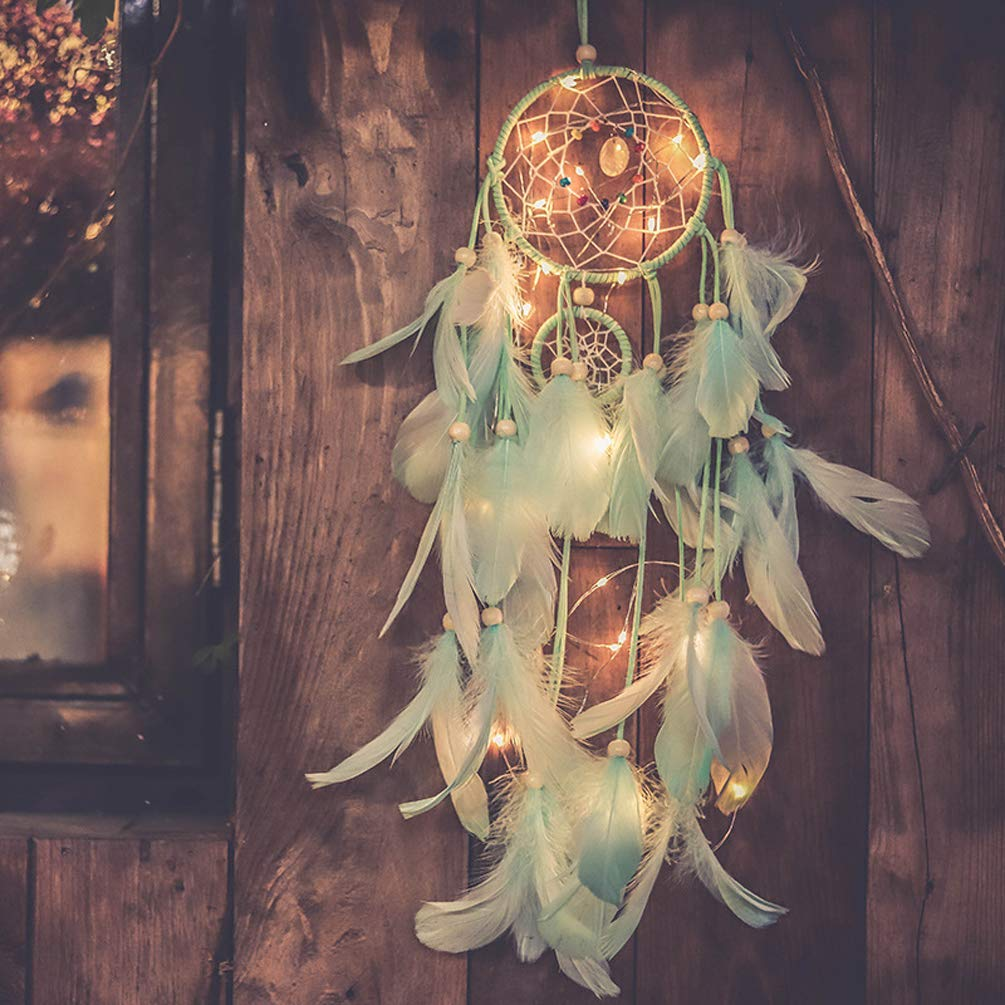Qukueoy Light Up Dream Catchers for Bedroom Wall Hanging Decorations, LED Dreamcatcher Home Ornaments with 20 LED Lights,Fantasy Gifts for Kids, Caught Your...