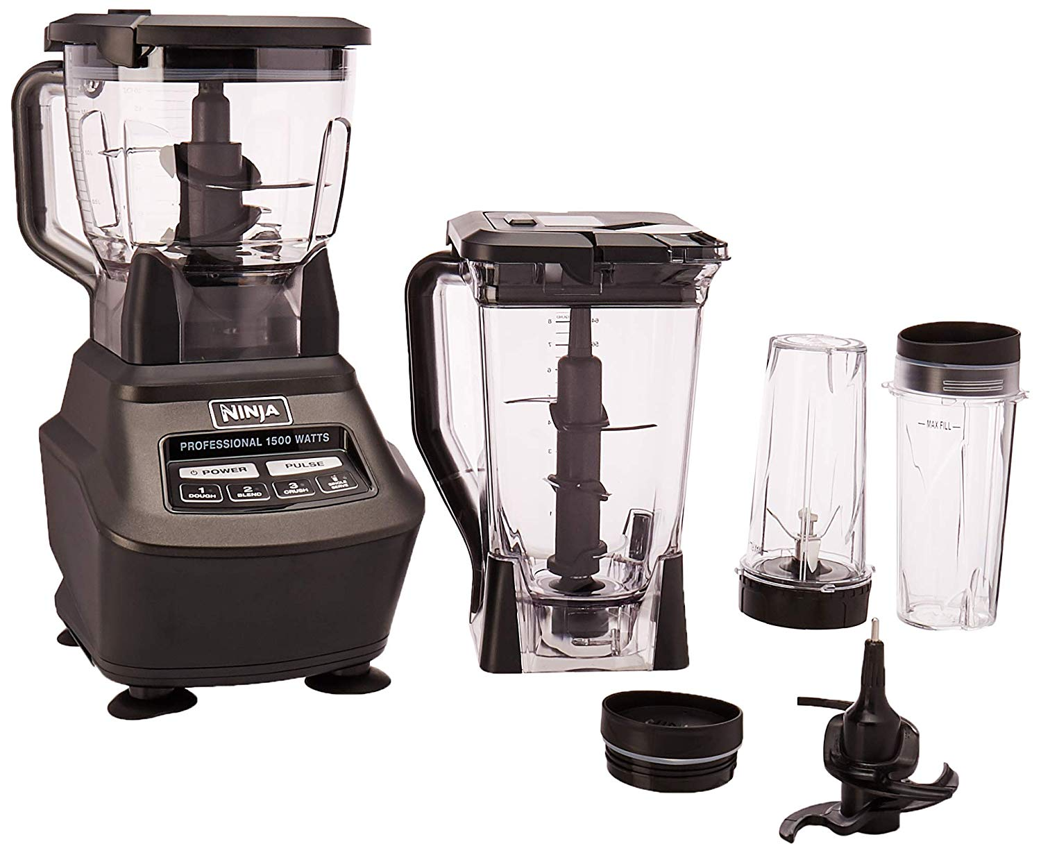 Ninja Mega Kitchen System (BL770) Blender/Food Processor with 1500W Auto-iQ Base, 72oz Pitcher, 64oz Processor Bowl, (2) 16oz Cup for Smoothies, Dough &...