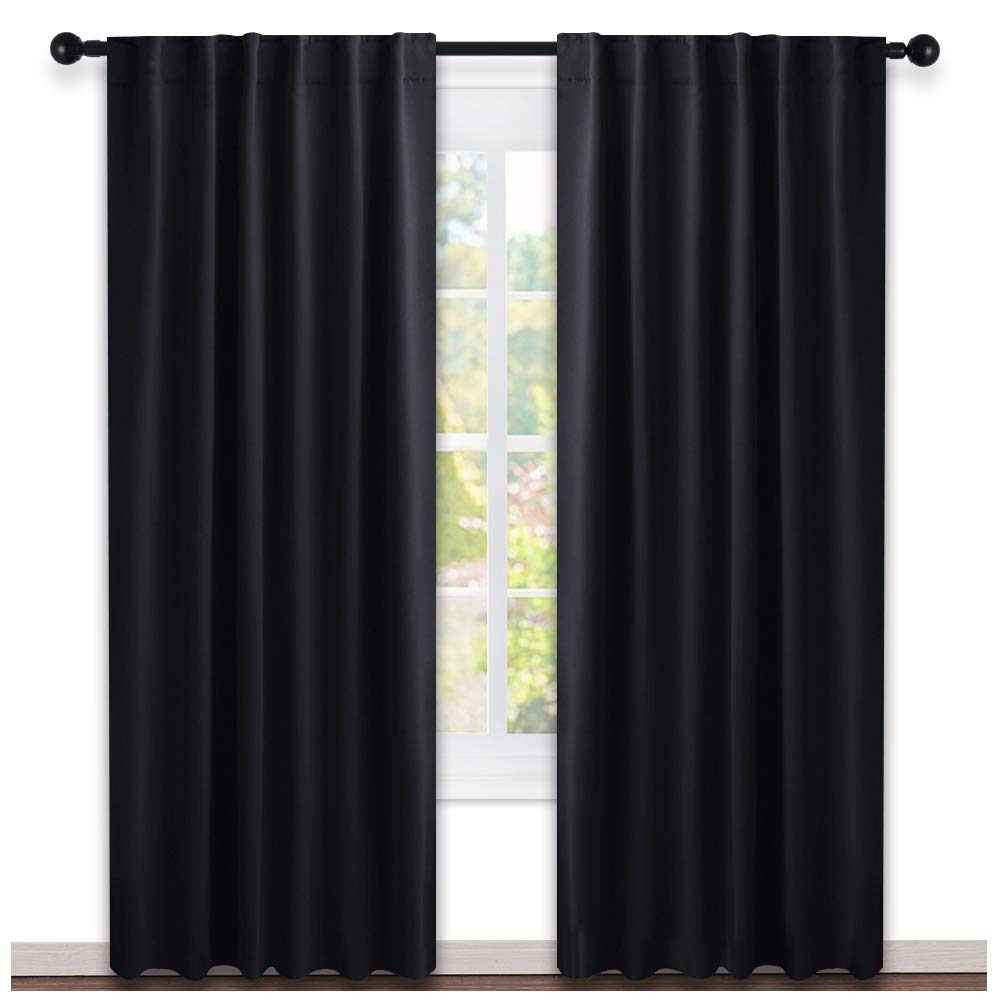 NICETOWN Blackout Curtains Shades Window Drapes - (Black Color) W52 x L95, Double Panels, Blackout Draperies Window Treatment - Living Room