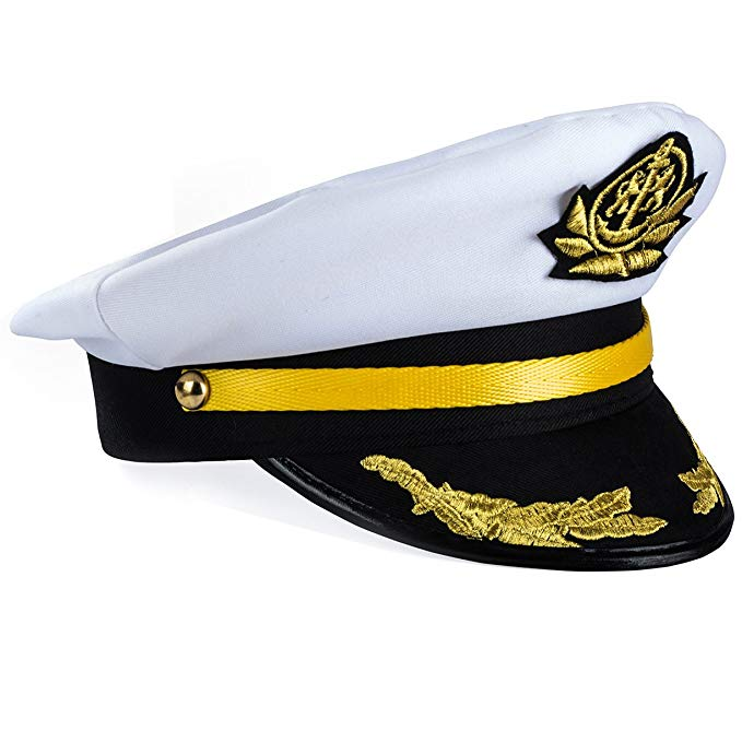 Yacht Captain Hat – Sailor Cap , Skipper Hat , Navy Marine Hat - Costume Accessories by Funny Party Hats
