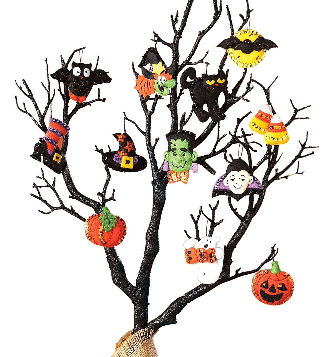 Bucilla Halloween Felt Applique Ornaments Kit (Size 2 2.5-Inch), 86430 Set of 12