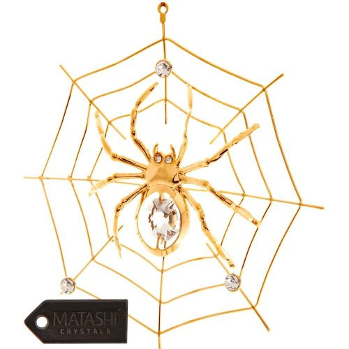 24K Gold Plated Crystal Studded Spider